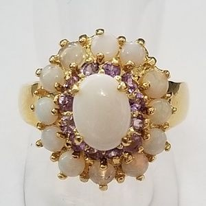 Jewelry - Genuine Opal and Amethyst Ring 10k GP